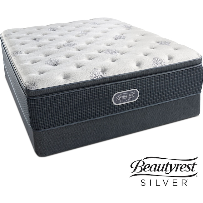 Mattresses and Bedding - White River Plush Pillowtop King Mattress and Split Low-Profile Foundation Set