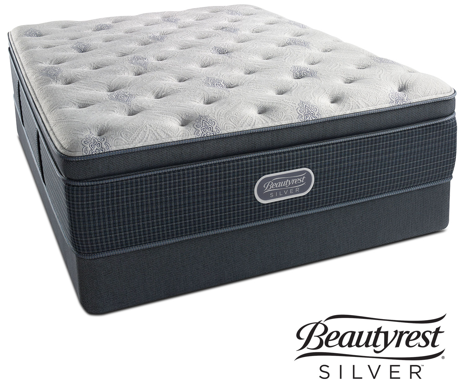 Crystal Ridge Plush Pillowtop Queen Mattress and Split Foundation Set
