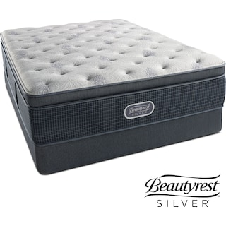 Crystal Ridge Luxury Firm Pillowtop King Mattress and Split Low-Profile Foundation Set
