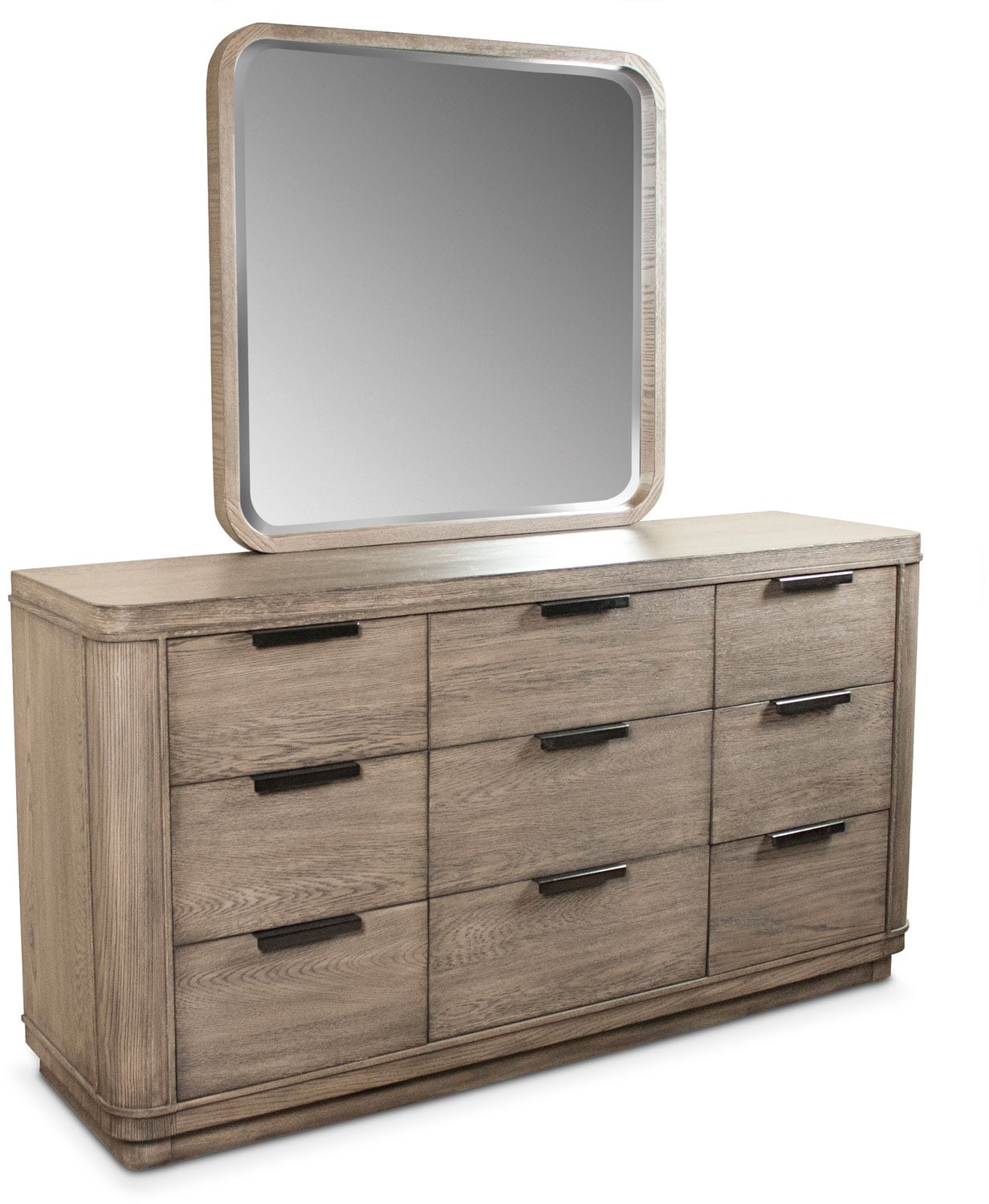 Bedroom Furniture - Malibu Dresser and Mirror - Gray