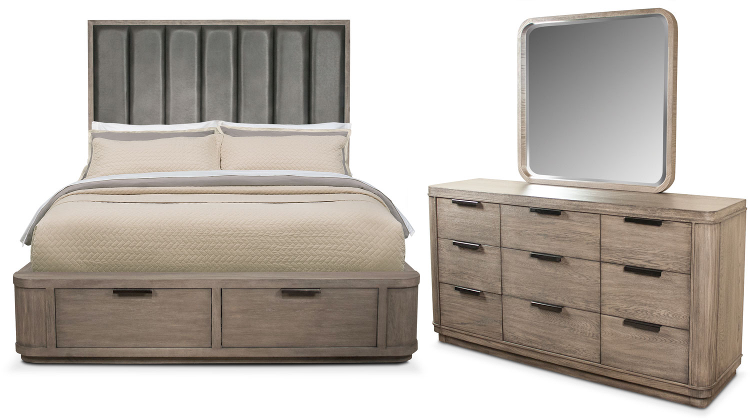 Malibu 5-Piece Queen Tall Upholstered Storage  Bedroom Set - Gray