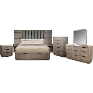 The Malibu Tall Upholstered Storage Bedroom Collection - Gray