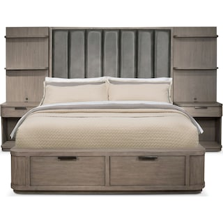 Malibu King Tall Upholstered Storage Wall Bed - Gray