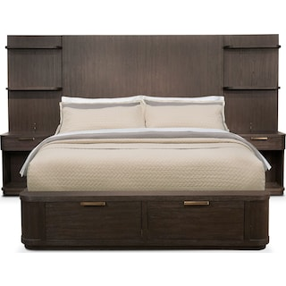 Malibu King Tall Storage Wall Bedroom Set - Umber