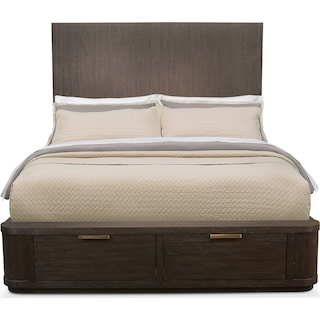Malibu Queen Tall Storage Bed - Umber