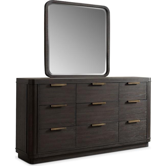 Bedroom Furniture - Malibu Dresser and Mirror - Umber