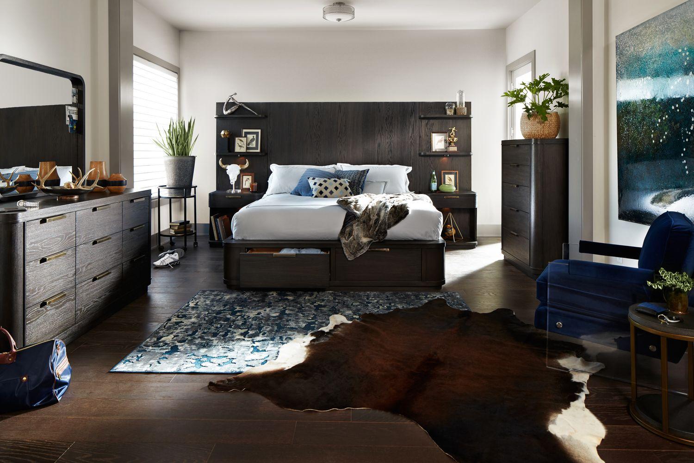 Malibu King Tall Storage Wall Bedroom Set Umber American