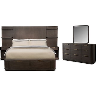 Malibu 5-Piece Queen Tall Wall Storage Bedroom Set - Umber