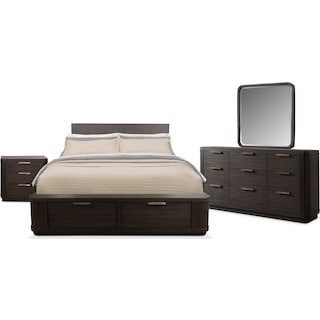 Malibu 6-Piece Queen Low Storage Bedroom Set - Umber