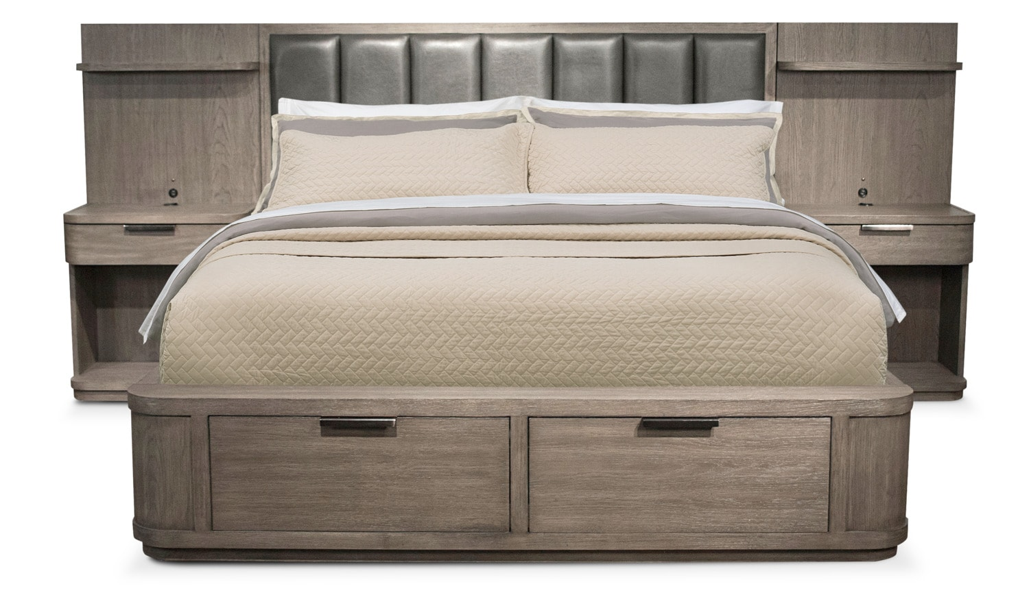 Malibu Low Upholstered Storage Wall Bed - Gray