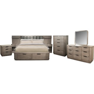 The Malibu Low Upholstered Storage Bedroom Collection - Gray