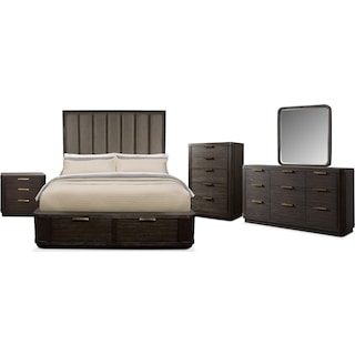 The Malibu Tall Upholstered Storage Bedroom Collection - Umber