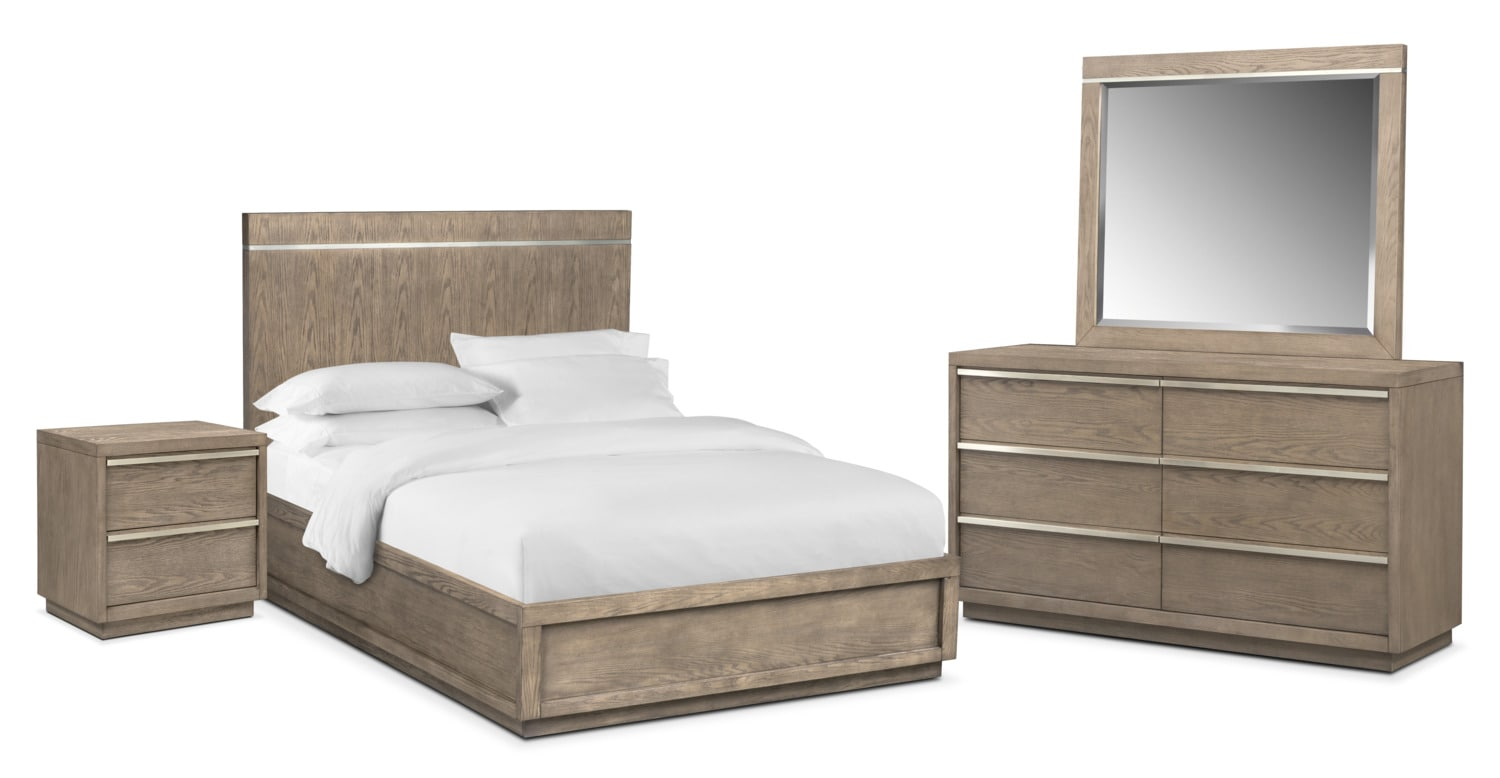 Bedroom Furniture   Gavin 6 Piece King Bedroom Set   Graystone