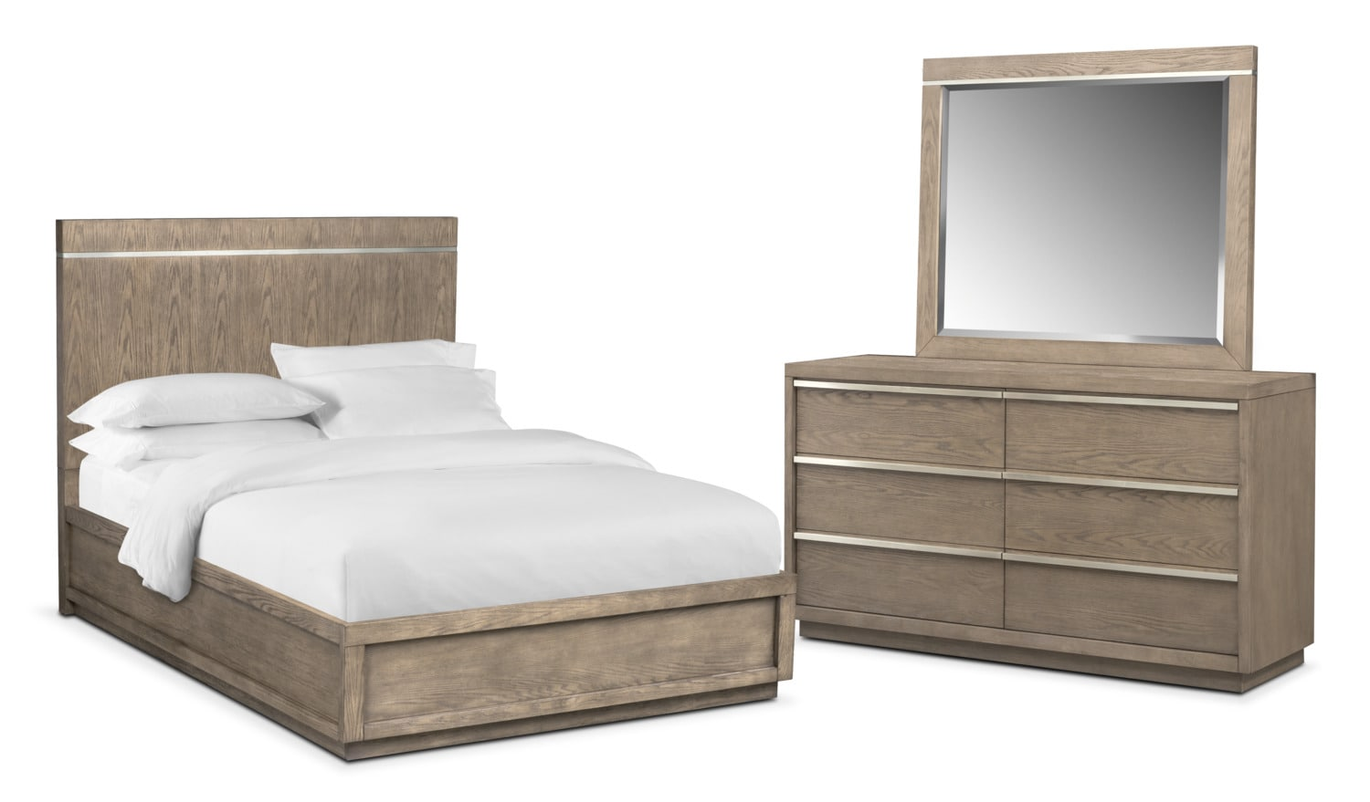 Bedroom Furniture - Gavin 5-Piece Bedroom Set with Dresser and Mirror