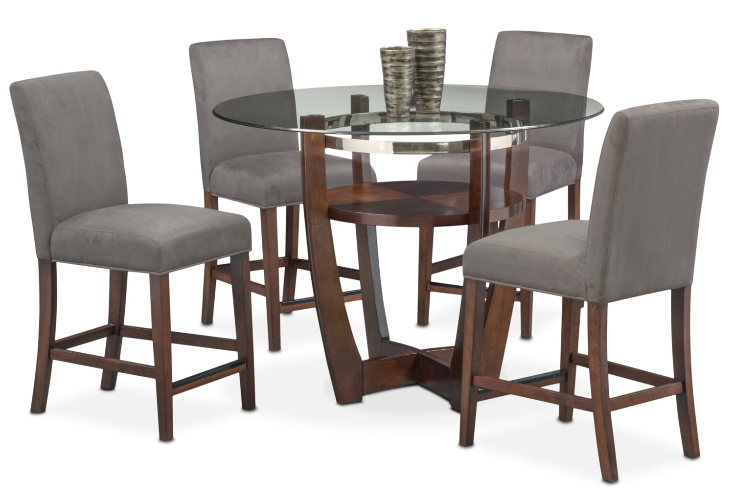 Alcove Counter-Height Table and 4 Side Chairs - Gray and Merlot