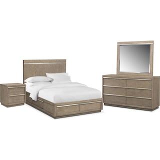 Gavin 6-Piece Queen Storage Bedroom Set - Graystone
