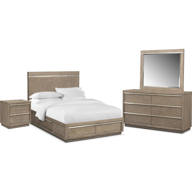Bedroom Furniture - Gavin 6-Piece Storage Bedroom Set with Nightstand, Dresser and Mirror