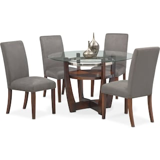 Alcove Table and 4 Side Chairs - Gray