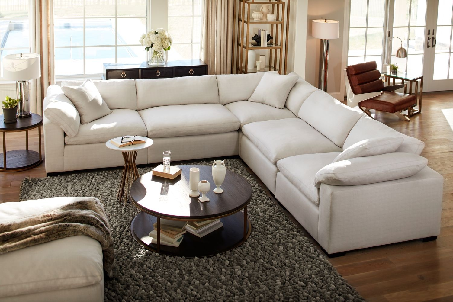 Plush 5 piece sectional anders ivory american for 7 seater living room set