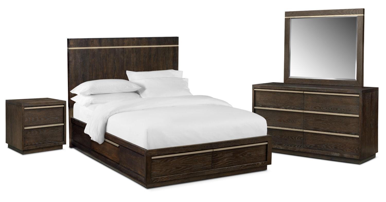 Bedroom Furniture - Gavin 6-Piece Storage Bedroom Set with Nightstand, Dresser and Mirror