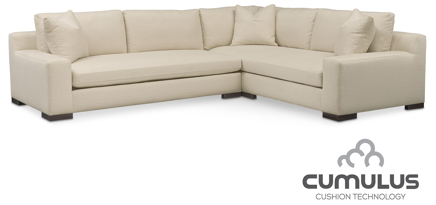 Ethan Cumulus 2-Piece Sectional with Left-Facing Sofa - Cream