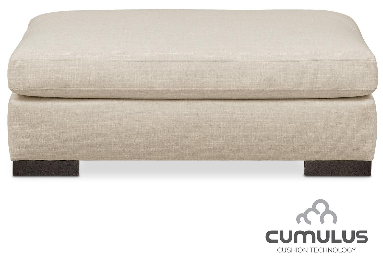 Living Room Furniture - Ethan Cumulus Ottoman - Cream