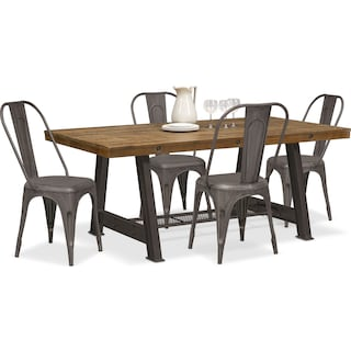 Carnegie Table and 4 Splat-Back Side Chairs - Black