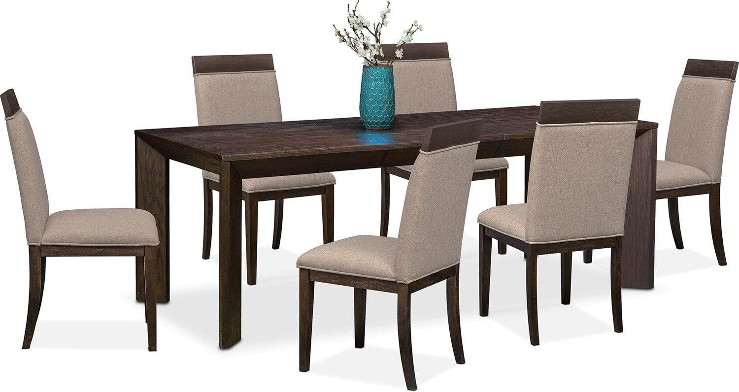 Gavin table and 6 side chairs brownstone american for Side chairs for dining table