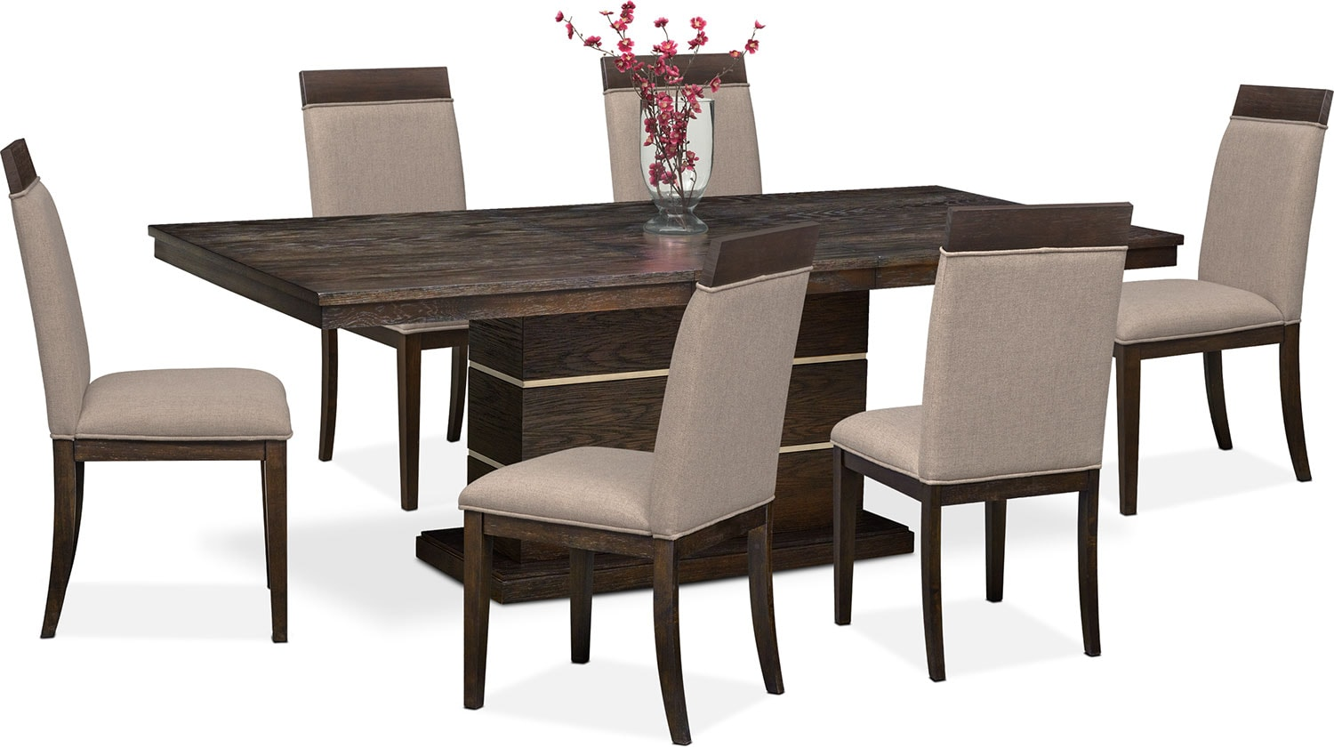 Gavin pedestal table and 6 side chairs brownstone for Side chairs for dining table
