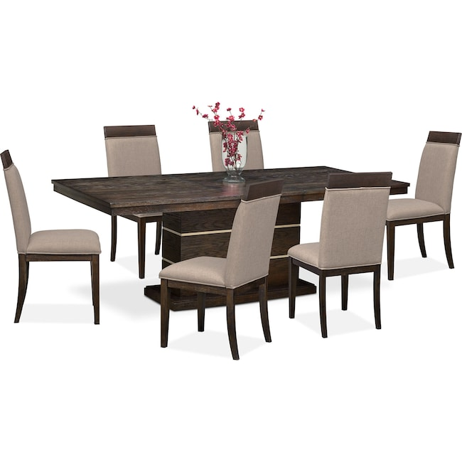 Dining Room Furniture - Gavin Pedestal Table and 6 Side Chairs - Brownstone