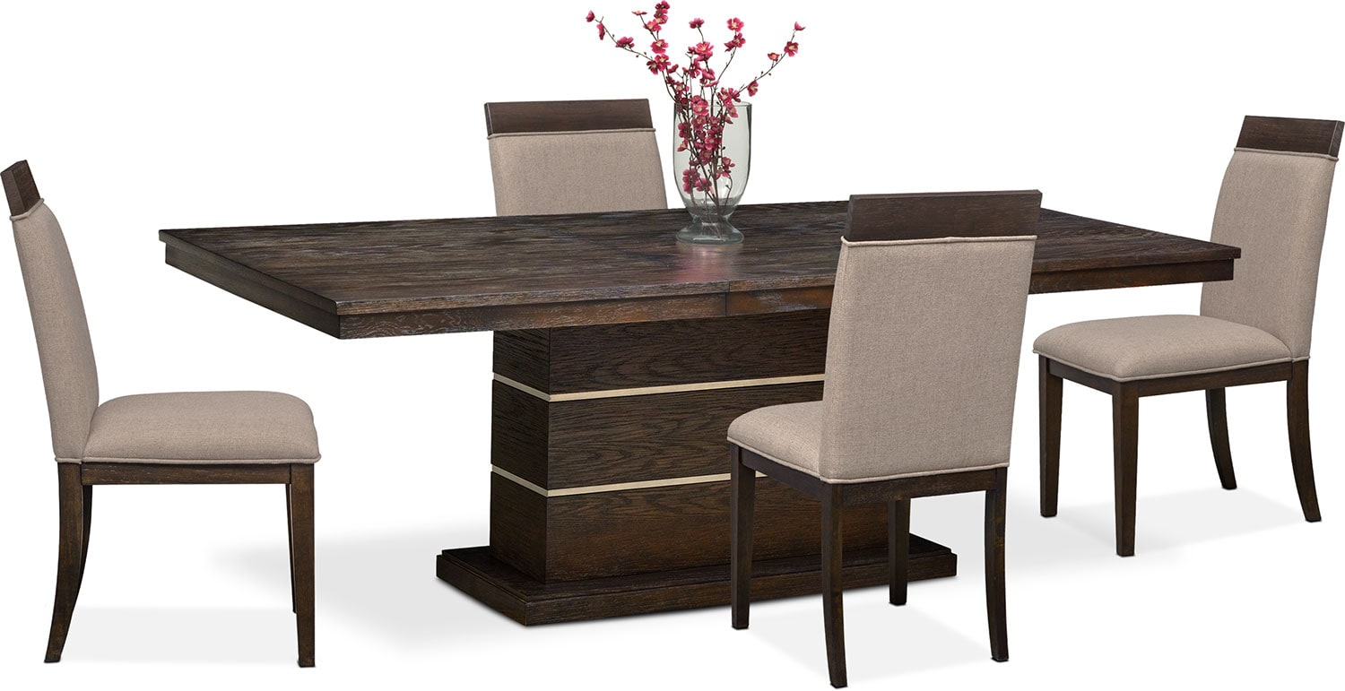 Gavin pedestal table and 4 side chairs brownstone for Side chairs for dining table