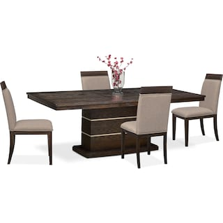 Gavin Pedestal Table and 4 Side Chairs - Brownstone