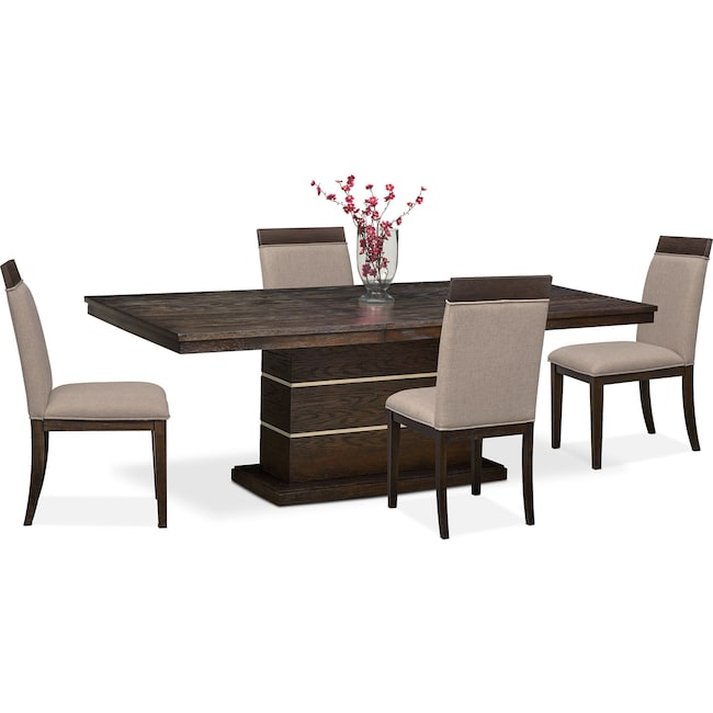 Dining Room Furniture - Gavin Pedestal Table and 4 Side Chairs - Brownstone
