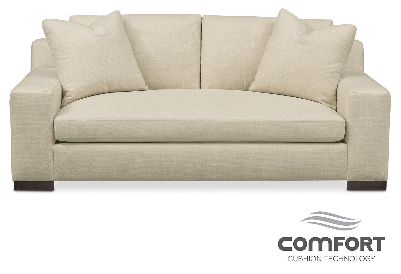Ethan comfort apartment sofa anders cloud american for Comfort living furniture