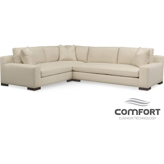 Ethan Comfort 2-Piece Sectional with Right-Facing Sofa - Cream