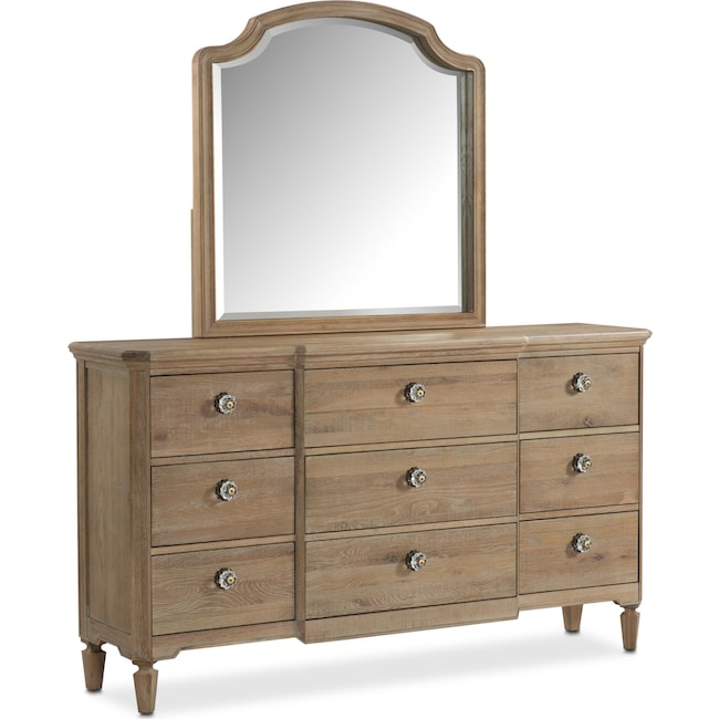 Bedroom Furniture Regents Park Dresser And Mirror Oak