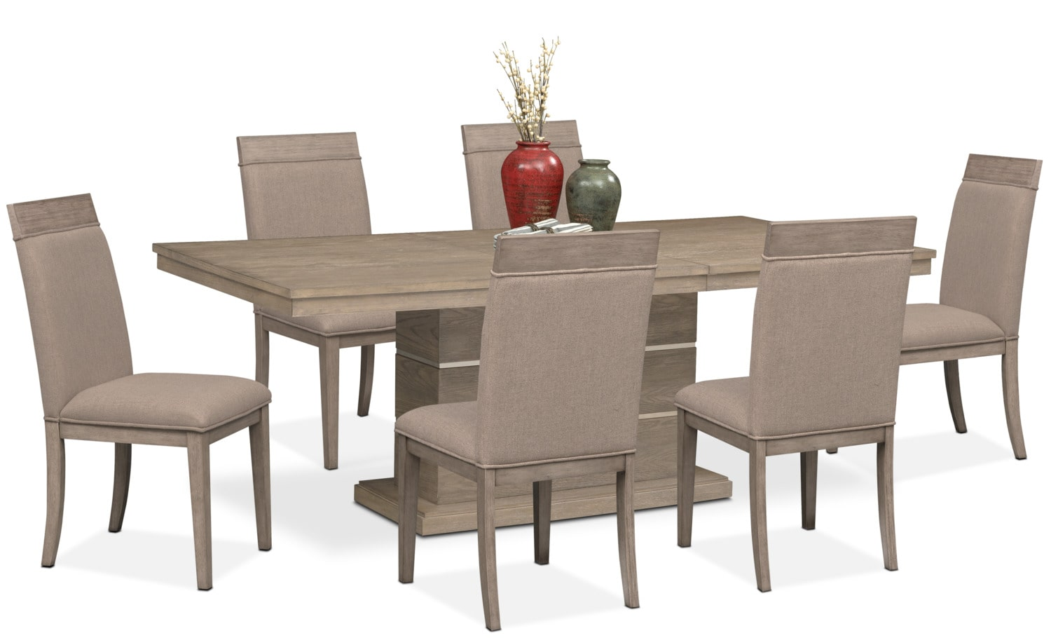 Dining Room Furniture   Gavin Pedestal Table And 6 Side Chairs   Graystone
