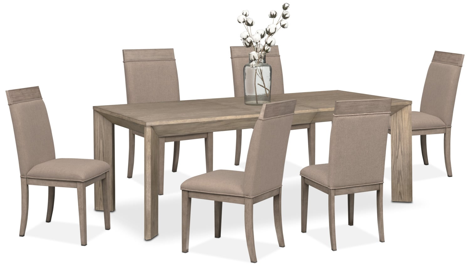 Gavin table and 6 side chairs graystone american signature furniture - Side table dining room ...
