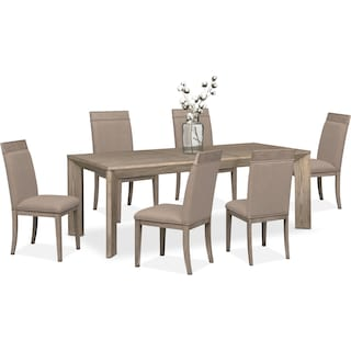 american signature dining room table. gavin table and 6 side chairs - graystone american signature dining room s