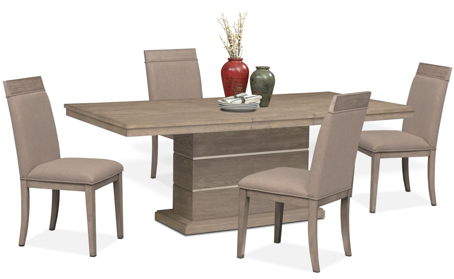 Gavin pedestal table and 4 side chairs graystone for Dining room tables kittles