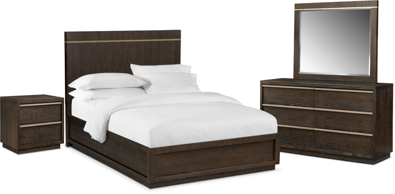 Gavin 6 Piece King Bedroom Set Brownstone American Signature Furniture