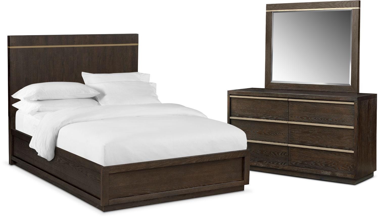 Bedroom Furniture - Gavin 5-Piece Bedroom Set with Dresser and Mirror