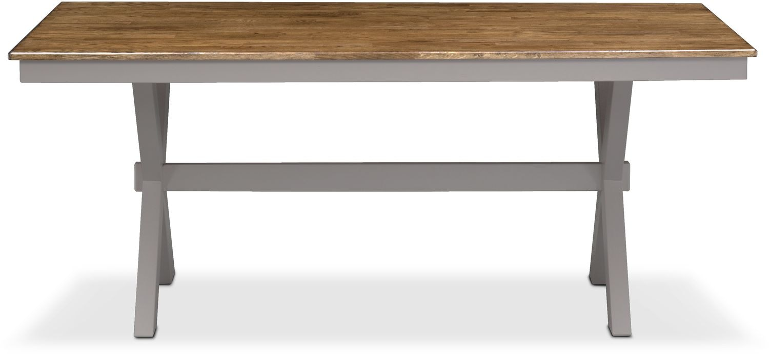 Nantucket Trestle Table Oak and Gray American  : 506042 from www.americansignaturefurniture.com size 1500 x 692 jpeg 54kB