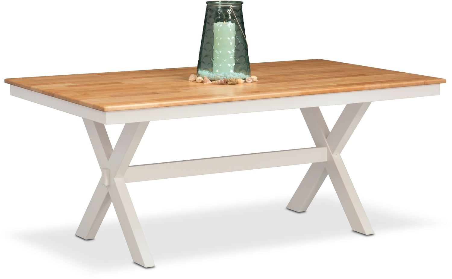 Nantucket Trestle Table - Maple and White