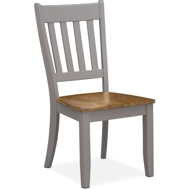 Dining Room Furniture - Nantucket Slat-Back Chair - Oak and Gray