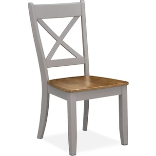 Nantucket X-Back Chair - Oak and Gray