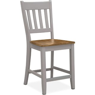 Nantucket Counter-Height Slat-Back Chair - Oak and Gray