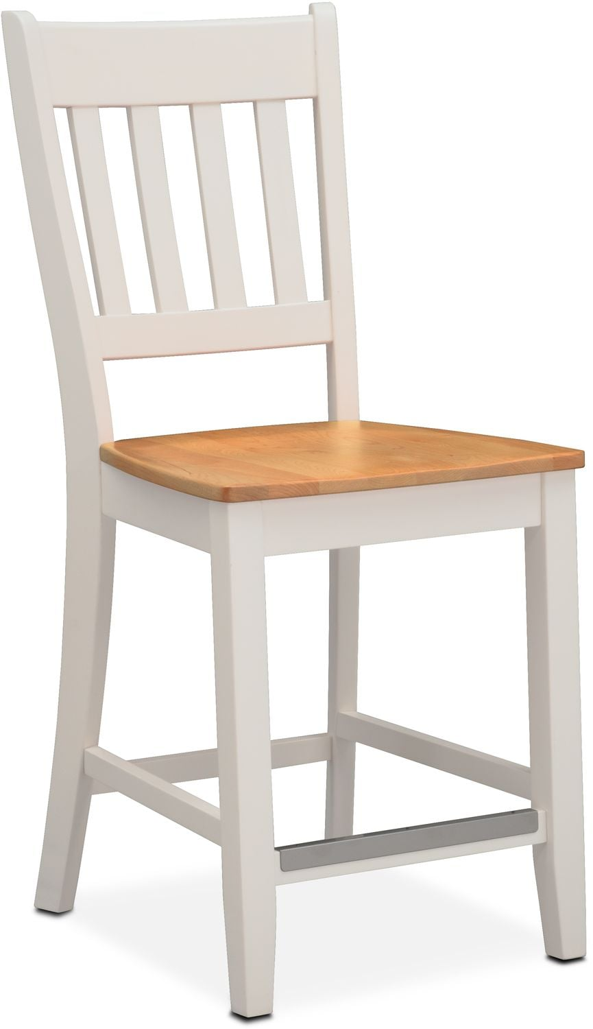 Dining Room Furniture - Nantucket Counter-Height Slat-Back Chair - Maple and White