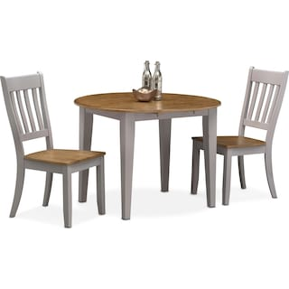 Nantucket Drop-Leaf Dining Table and 2 Slat-Back Dining Chairs - Oak and Gray