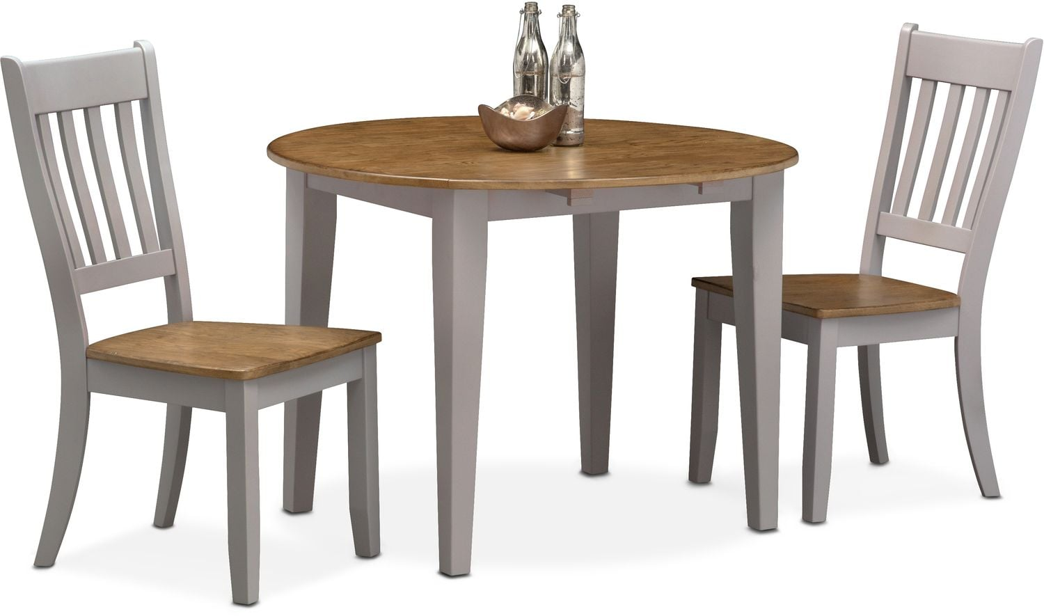Captivating $299.97 Nantucket Drop Leaf Table And 2 Slat Back Chairs   Oak And Gray